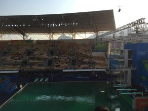 Water in the Maria Lenk diving pool turned a murky green overnight (GamesBids Photo)