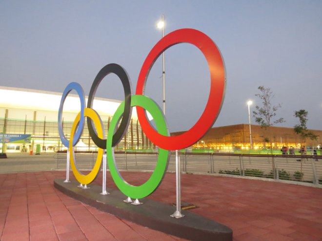 The Olympic Rings in Rio 2016's Barra Olympic Park (GamesBids Photo)