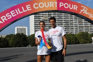 Paris 2024 co-Chair Tony Estanguet with French Olympic sprinter from Seoul 1988, Nathalie Simon (Paris 2024)