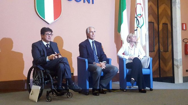 CONI President Giovanni Malago (Centre) and Rome 2024 leadership announce end of Olympic Bid (Rome 2024 Photo)