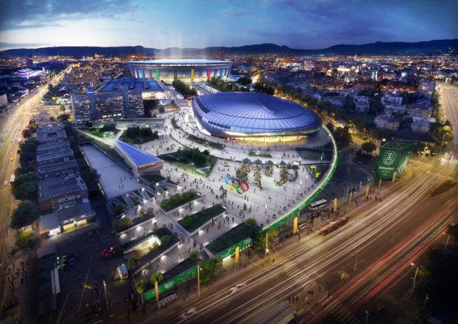 Proposed Budapest 2024 Olympic Park (Budapest 2024 depiction)