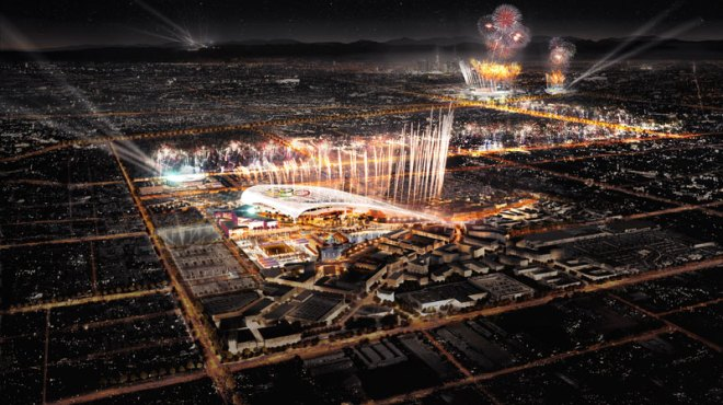 LA 2024 has proposed an unprecedented two-stadium Opening Ceremony concept leveraging iconic LA Memorial Coliseum and new NFL stadium (LA 2024 depiction)