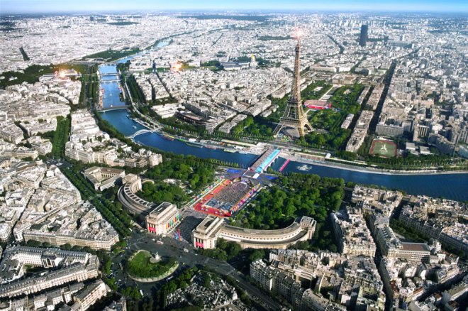 Paris 2024 depiction of Olympic celebrations