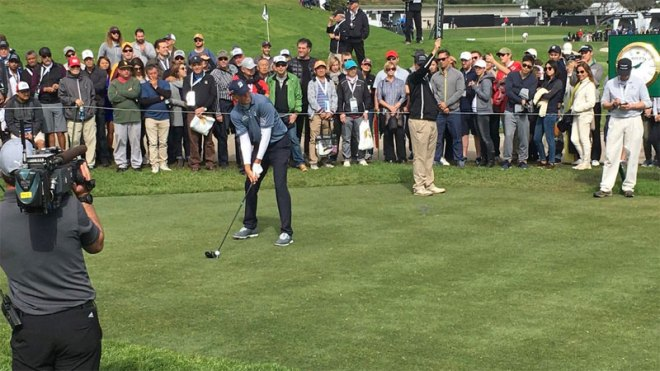 Matt Kuchar putts at the Genesis Open PGA Tour event at the Riviera Country Club- the proposed Olympic golf venue (LA 2024 Photo)