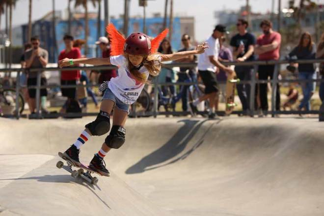 """LA 2024 was joined at CicLAvia by young athletes from """"Girl is NOT a 4 Letter Word"""", an organization founded by former professional skateboarder Cindy Whitehead dedicated to promoting equal opportunities for women and girls to participate and earn recognition in action sports (LA 2024 Photo)"""
