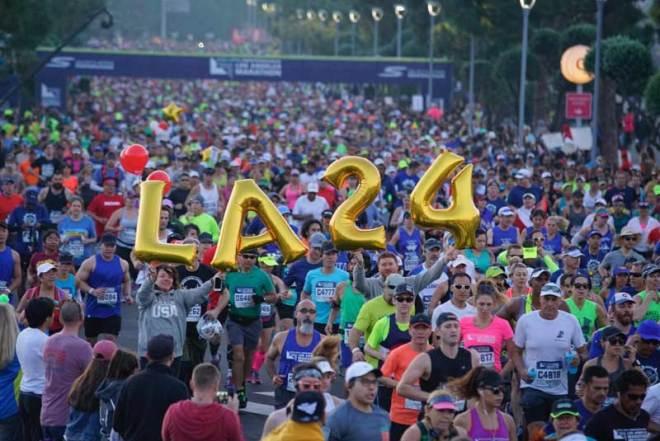 Runners at the Skechers Performance Los Angeles Marathon celebrate LA 2024 (LA 2024 Photo)