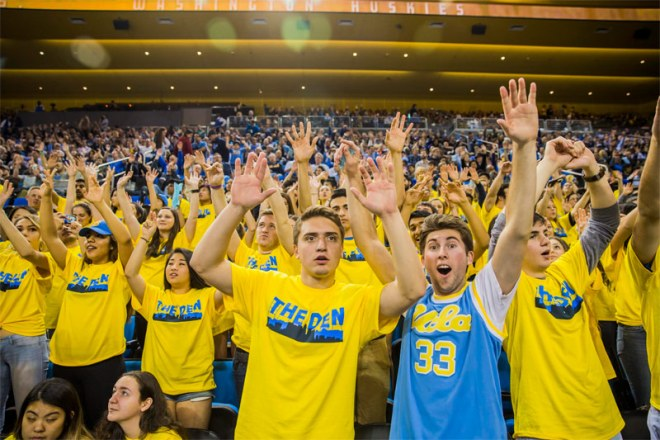 UCLA Bruins Basketball Fans. Student governments from UCLA and USC have endorsed the LA 2024 Olympic and Paralympic Games bid (LA 2024 Photo)