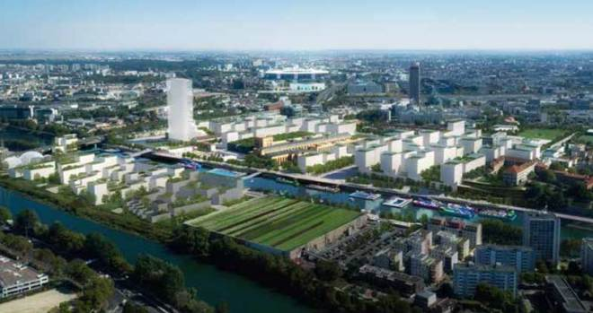 Artist rendering of proposed Paris 2024 Athletes' Village (Paris 2024)