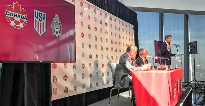 Canada, Mexico and the United States announce a joint 2026 World Cup bid at the Freedom Tower in New York (Soccer Canada Photo)