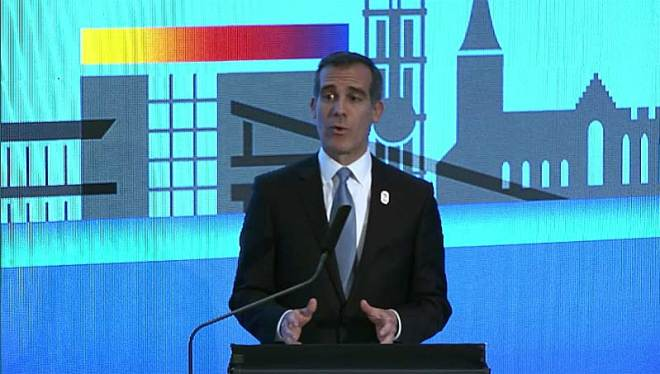 LA Mayor Eric Garcetti Presents for LA 2024 Olympic bid at SportAccord Convention in Aarhus, Denmark