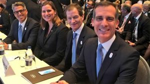 LA 2024 Delegation waiting to present bid project at SportAccord Convention in Aarhus, Denmark. (L to R) Chair Casey Wasserman, IOC Member Angela Ruggiero, CEO Gene Sykes and LA Mayor Eric Garcetti (LA 2024 Photo)