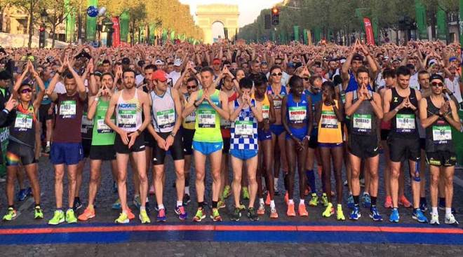 Runners preparing at the start of the 41st Paris Marathon (Paris 2024 Photo)
