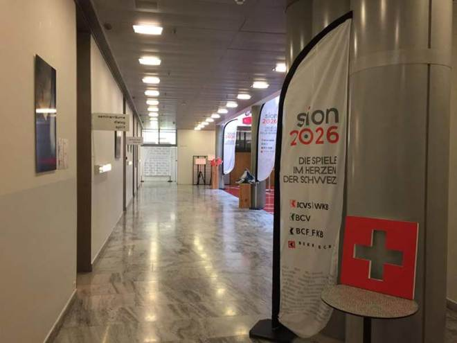 Sion 2026 banners outside Swiss Sport General Assembly Room April 11, 2017 (Swiss Olympic Photo)