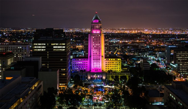 Los Angeles City Hall lit up in LA 2024 Olympic Bid colors (LA 2024 Photo)