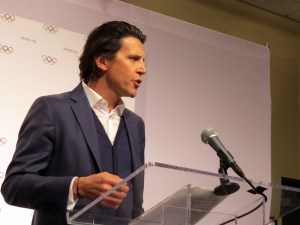 IOC Sports Director Christophe Dubi speaks to reporters at Staples Center in Los Angeles (GamesBids Photo)