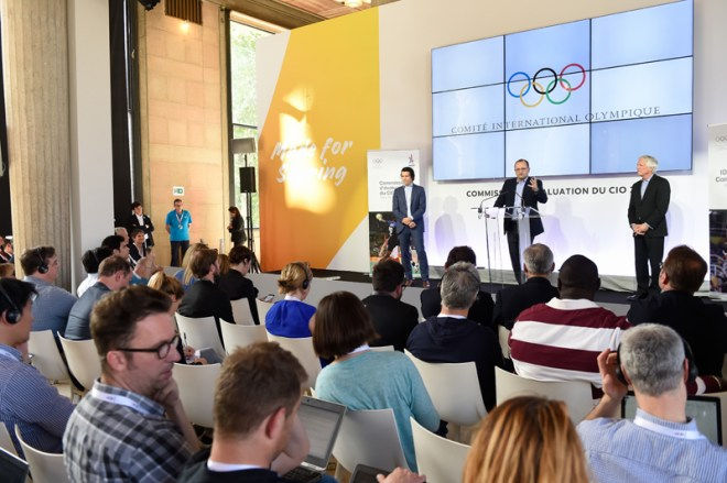 IOC Evaluation Commission Chair Patrick Baumann talks to reporters at end of three-day visit to Paris (Paris 2024 Photo)
