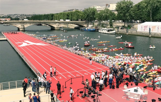 Floating 100m track on River Seine is centerpiece of Paris 2024 Olympic Day celebration (Paris 2024 Photo)