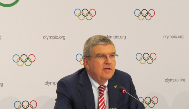 IOC President Thomas Bach at IOC Session in Lausanne July 11, 2017 (GamesBids Photo)