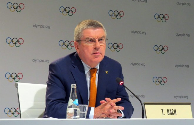 IOC President Thomas Bach speak at press conference in Lima, Peru Sept. 11, 2017 (GamesBids Photo)