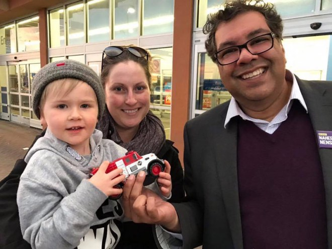 Calgary Mayor Naheed Nanshi campaigning for 2017 Election (Nenshi Facebook Photo)