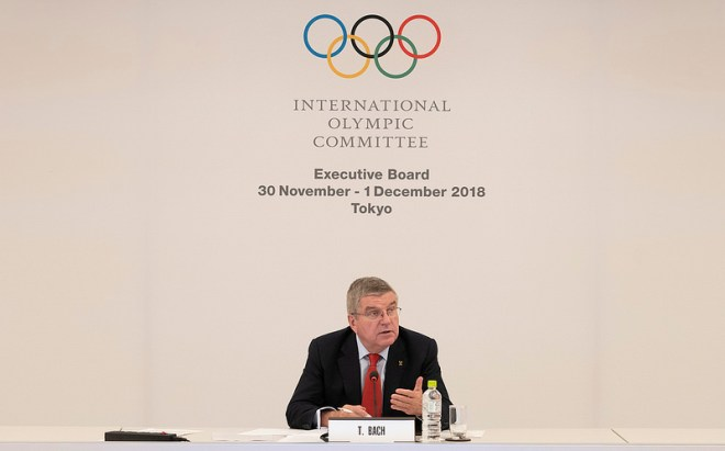 IOC President Thomas Bach at Executive Board Meeting in Tokyo, Japan November 30, 2018 (IOC Photo)
