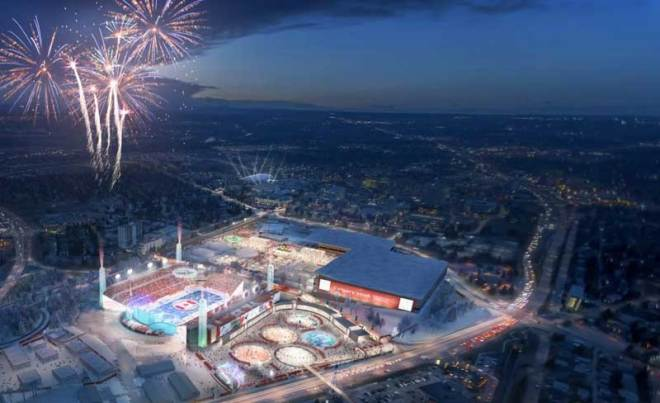 Calgary 2026 rendering of upgraded McMahon Stadium with Olympic overlay
