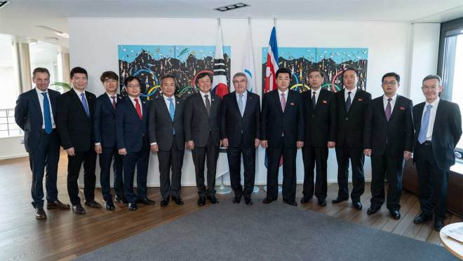 IOC President Thomas Bach among delegations at a tripartite meeting with sport officials from North and South Korea in Lausanne, Switzerland February 15, 2019 (IOC Photo)