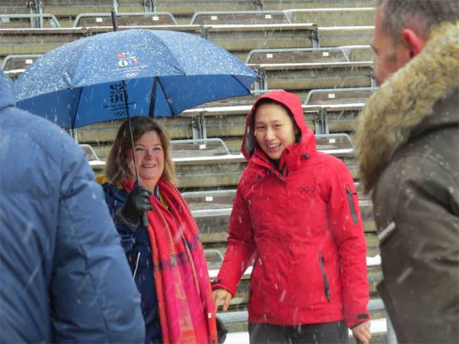 Swedish Olympic Committee Secretary General Gunilla Lindberg (left) and IOC Athletes Commission Representative Olympic Champion Speed Skater Hong Zhang at Stockholm Olympic Stadium March 13, 2019 (GamesBids Photo)