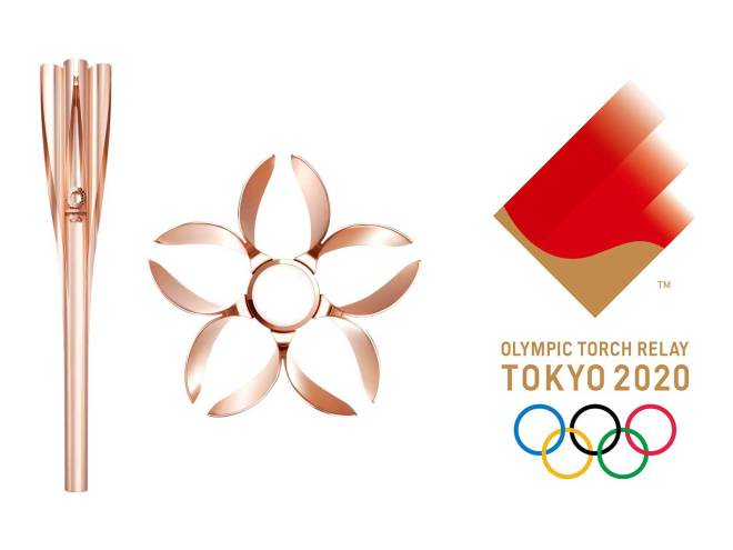 """The Tokyo 2020 Olympic Torch is designed to resemble a cherry blossom; the Torch Relay Emblem depicts the """"dynamic flames"""" of the Torch"""
