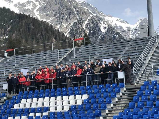 IOC Evaluation Commission visit Sudtirol Arena Alto Adige, proposed for biathlon in Rasen-Antholz (GamesBids Photo)