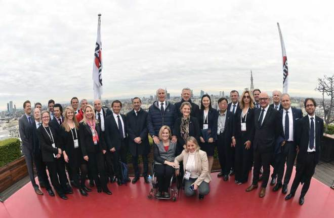 IOC 2026 Olympic Bid Evaluation Commission and Milano-Cortina 2026 team at Palazzo Reale in Milan April 5, 2019 (CONI Photo)