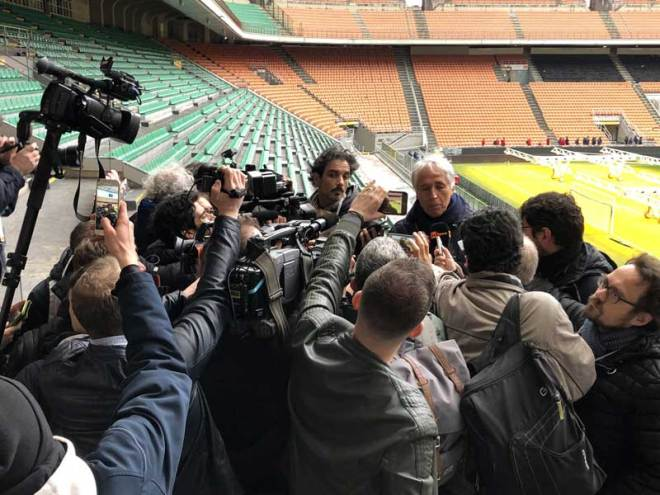 Journalists pepper CONI President Giovanni Malagò with questions at San Sidro Stadium where the Opening Ceremony is proposed for Milano-Cortina 2026 Olympic bid (GamesBids Photo)