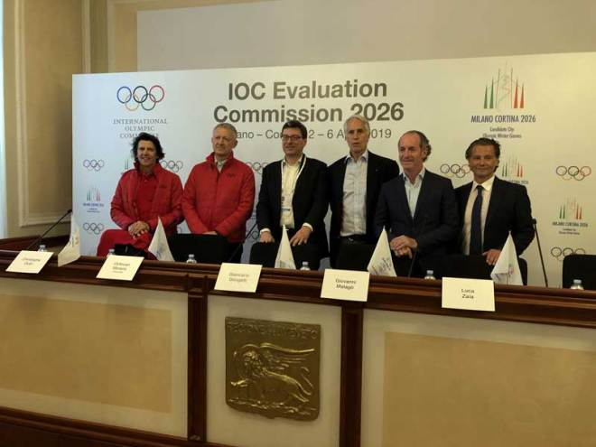 The IOC Olympic Bid Evaluation Commission 2026 with Milan-Cortina 2026 bid team hold opening press conference ahead of five-day visit to Italy, April 1, 2019 (GamesBids Photo)