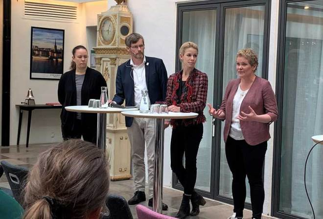 (L to R) Maria Wetterstrand former leader of the Swedish Green Party, Johan Strid, General Secretary of the Swedish Paralympic Committee, Anna König Jerlmyr,, Mayor of Stockholm and Karin Wanngård, former Mayor of Stockholm at the seminar at the Stockholm Chamber of Commerce (Stockholm Are 2026 Photo)