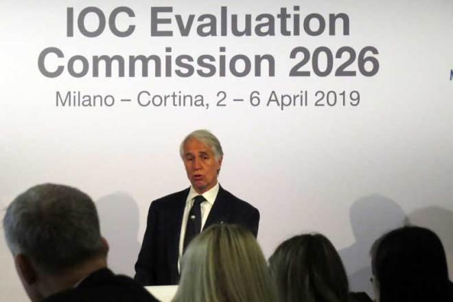 Milan-Cortina 2026 bid Chief Giovanni Malagò speaks to IOC Evaluation Commission (GamesBids Photo)