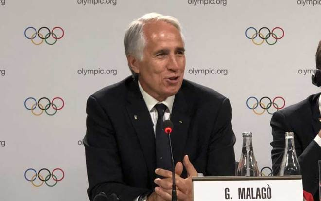 Milan-Cortina Bid Chief Giovanni Malago speaks to the press in Lausanne, Switzerland June 24, 2019 (GamesBids Photo)