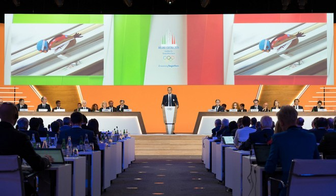 Milan-Cortina 2026 Olympic bid presentation at IOC's 134th Session in Lausanne, Switzerland June 24, 2019 (IOC Photo)