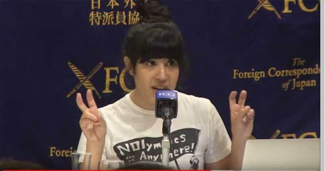 Anne Orchier, spokesperson for NOlympics LA and member of the Democratic Socialists of America during a press conference in Tokyo, July 2019