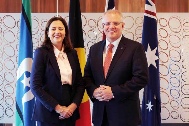 Australian Prime Minister Scott Morrison (right) and Queensland Premier Annastacia Palaszczuk, July 11, 2019 (Photo: Scott Morrison/Twitter)
