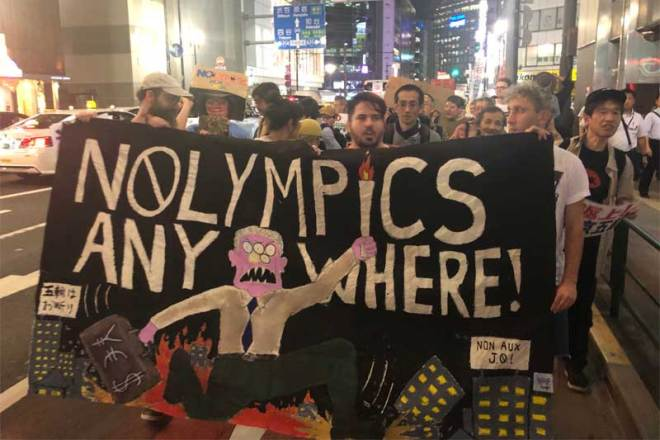 NOlympicsAnywhere protesters on the streets in Tokyo in July 2019 (Photo: NOlympicsAnywhere/Twitter)