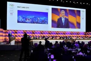 IOC Future Host Commission for Winter Games Chair Octavian Moraiu addresses IOC Session in Lausanne, Switzerland January 10, 2020 (Photo: Christophe Moratal/IOC)