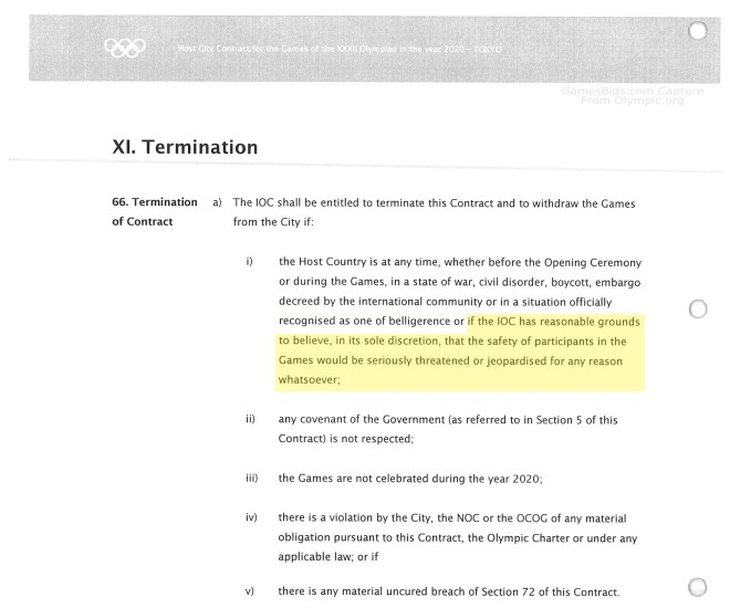 Excerpt from Tokyo 2020 Host City Contract (emphasis added)