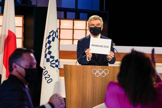 IOC President Thomas Bach announces Brisbane 2032 will host the Olympic and Paralympic Games July 21, 2021 (IOC Photo)