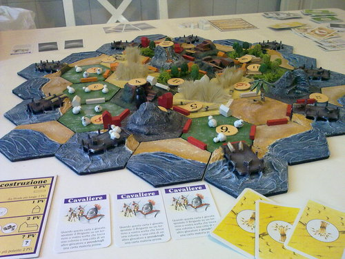 Settlers of Catan handcrafted board game.