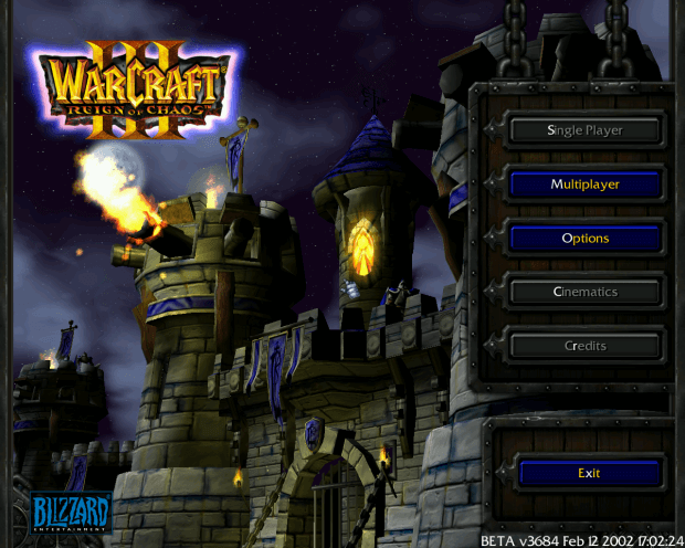 Warcraft 3 Reign of Chaos Game Menu