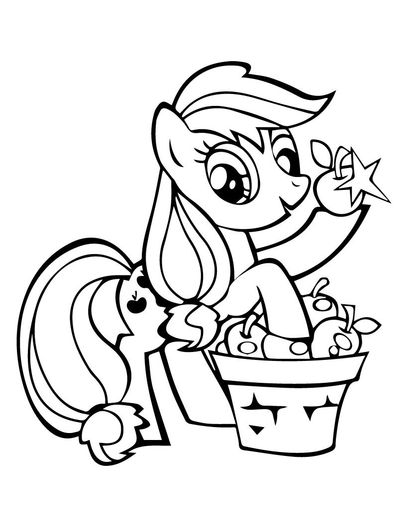 My Little Pony Applejack Pick Apples Coloring Page My Little