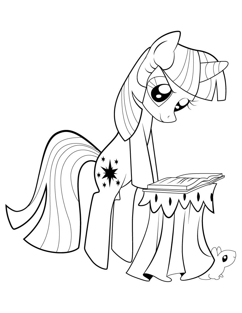 my little pony twilight sparkle reading coloring page  my