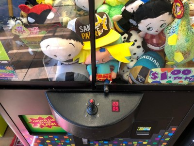 view of play field for arcade claw machine at pleasanton walmart