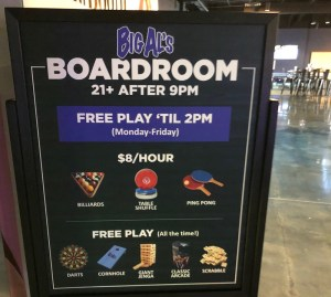 sign of games available at big al's boardroom