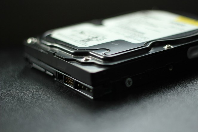 computer hard drive on a black table